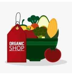 price tag organic shop healthy food vector image