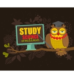 Professor owl on the tree teaching science online vector image
