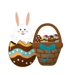 Rabbit inside egg and hamper with eggs vector