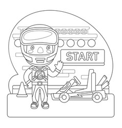 Racer coloring page vector