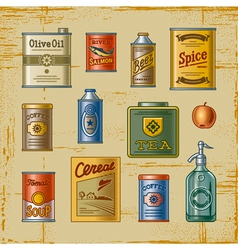 Retro grocery set vector image