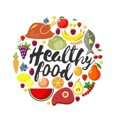 Round frame from foodftuffs Healthy food vector