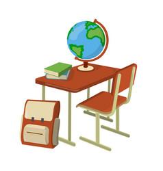 School desk with school supplies icon and logo vector