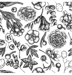 Seamless pattern with black and white ficus vector