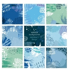 Set of nine abstract backgrounds with hand vector image