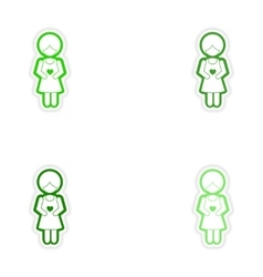 Set paper stickers on white background expectant vector