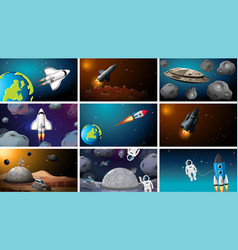 Set space exploration scenes vector
