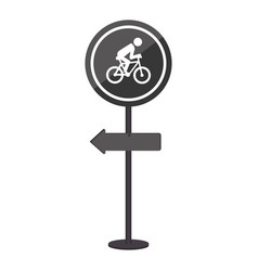 Sihouette pole with road sign with ride bike vector