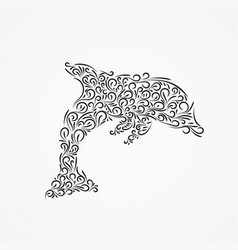 Silhouette of a dolphin of ornate forms vector
