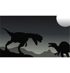 Silhouette of Spinosaurus and dilophosaurus vector