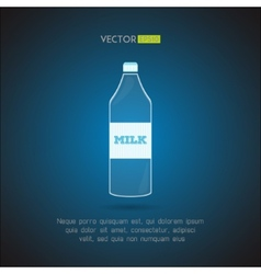 Simple milk bottle on a blue background vector image