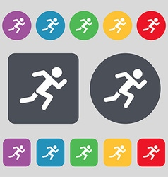 Simple running human icon sign a set of 12 colored vector