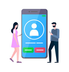 smartphone with calling sign users with phones vector image