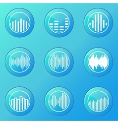 Soundwave blue icons vector image