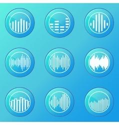 Soundwave blue icons vector