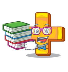 Student with book plus sign isolated on the mascot vector
