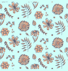 summer floral pattern with doodle orange flowers vector image