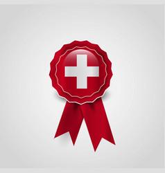 Switzerland flag ribbon banner badge vector