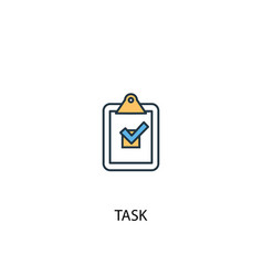 Task concept 2 colored line icon simple yellow vector