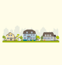 Three classic houses in the suburb vector