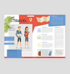 Time to travel - colorful brochure template vector