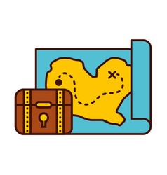 Treasure chest game with map vector