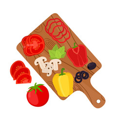 Vegetable slices on cutting boardpizza ingredient vector