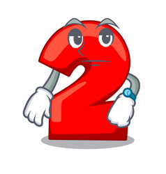 Waiting number two red isolated on mascot vector