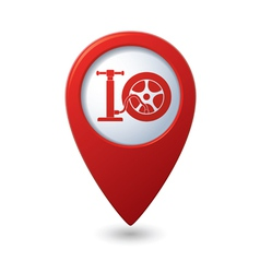 wheel pump icon red map pointer vector image