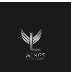 Wings L letter logo vector