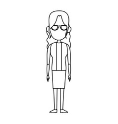 Woman female standing character outline image vector