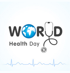 world health day heartbeat lettering vector image
