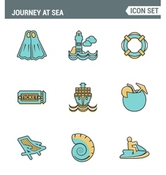 Icons line set premium quality of journey at sea vector image vector image