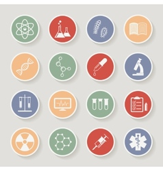Round science medical and education icons vector image vector image