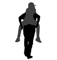 Silhouettes of young male carrying his girlfriend vector