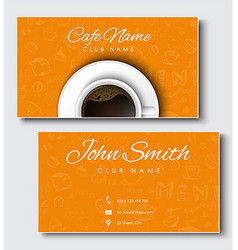 Templates of yellow cards for coffee shops and vector image