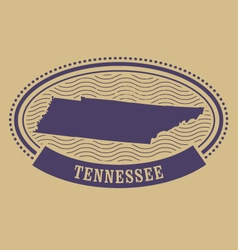 Tennessee map silhouette - oval stamp vector image vector image