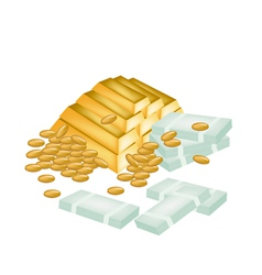 A Pile of Money Coin and Gold vector image