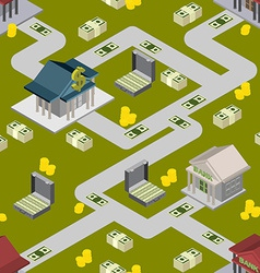 bank pattern maps isometric background vector image vector image