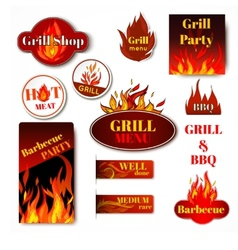 Fire label grill vector image vector image