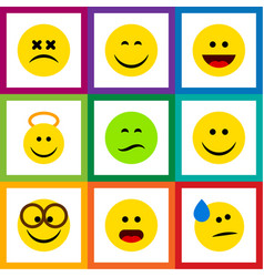Flat icon gesture set of pleasant laugh wonder vector