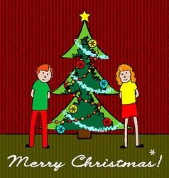 Kids with Christmas tree vector image