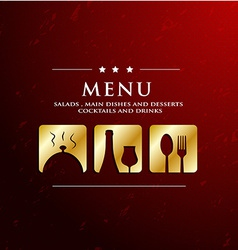 menu restaurant with golden icon in ground vector image vector image