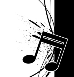 music note with ink splatter vector image vector image