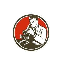 Scientist Lab Researcher Chemist Microscope Retro vector image