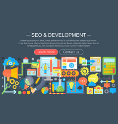 seo and development concept design infographics vector image