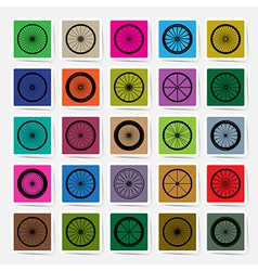 Bicycle wheels square sticker set vector image