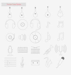 music set style line icons on white vector image