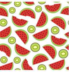 seamless pattern with watermelon and kiwi vector image