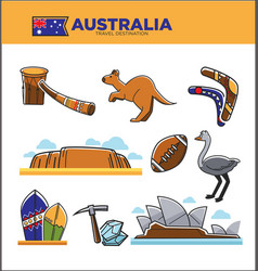 Australia travel destination poster with country vector